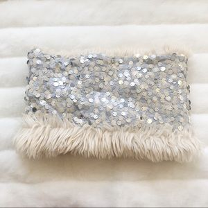 Loft Sequin and Fur Infinity Scarf